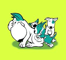 Bull Terrier Pups with Mum Teal by Sookiesooker