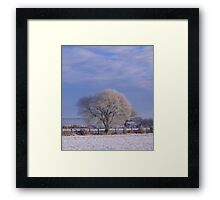 Tree with Blue and White Framed Print