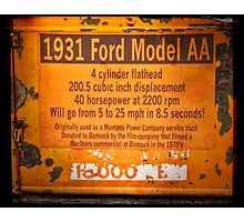 1931 Ford Model AA Truck Sign Photographic Print