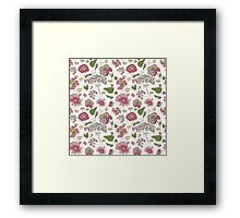 Floral seamless pattern with fantasy blooming flowers Framed Print