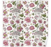 Floral seamless pattern with fantasy blooming flowers Poster