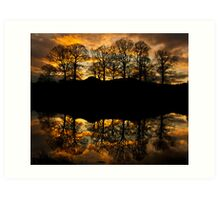 Sunset reflections on the river Brathay Art Print