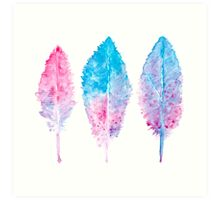 Elegant vector background with watercolor drawing feathers. Art Print