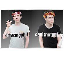 Dan and Phil Flower Crown Gradient Poster