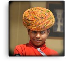 smirking blue-eyed boy in yellow turban, Rajasthan, India Metal Print