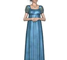 Regency Woman in Blue Dress by algoldesigns
