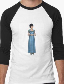 Regency Woman in Blue Dress Men's Baseball ¾ T-Shirt