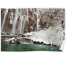 Frozen fairytale. Plitvice waterfalls  Poster