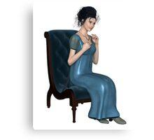 Regency Woman in Blue Dress Sitting on a Chair Canvas Print