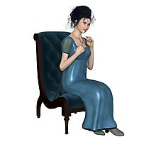 Regency Woman in Blue Dress Sitting on a Chair Photographic Print