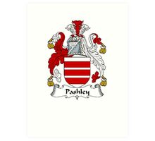 Coat of arms (family crest) for last-name or surname Pashley . Heraldry banner for your name. Art Print