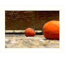 Oranges on the pavement Art Print