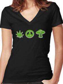 Marijuana Peace Mushrooms Women's Fitted V-Neck T-Shirt