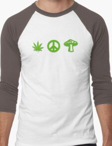 Marijuana Peace Mushrooms Men's Baseball ¾ T-Shirt