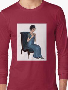 Regency Woman in Blue Dress Sitting on a Chair Long Sleeve T-Shirt