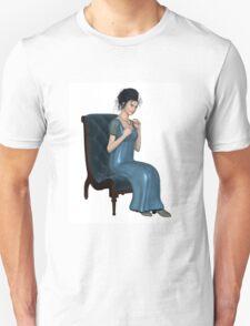 Regency Woman in Blue Dress Sitting on a Chair T-Shirt