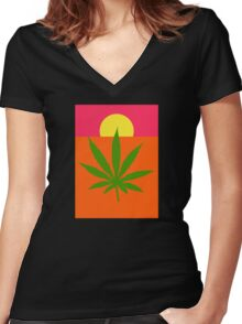 Marijuana Women's Fitted V-Neck T-Shirt
