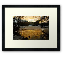 Sun setting over the Lake at Elvaston Castle Framed Print