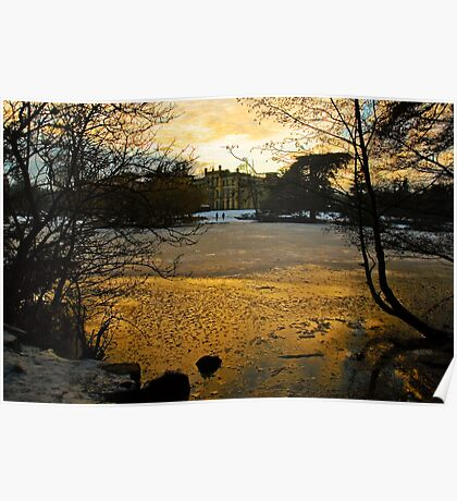 Sun setting over the Lake at Elvaston Castle Poster