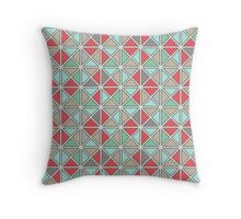 Mint, Coral and Grey Triangle Pattern Throw Pillow