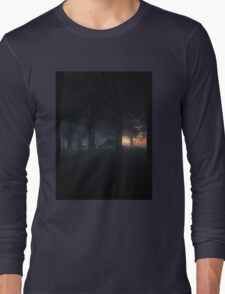 Dragon in a Misty Sunset Forest Long Sleeve T-Shirt