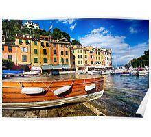 Boat on Shore in Portofino Inner Harbor Poster