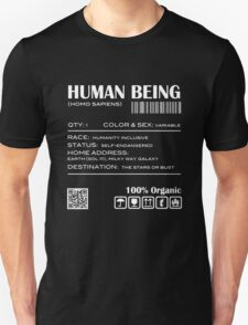 Human Being Shipping Label T-Shirt