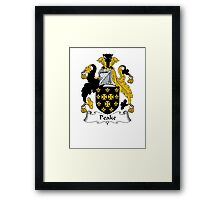 Coat of arms (family crest) for last-name or surname Peak (e) . Heraldry banner for your name. Framed Print