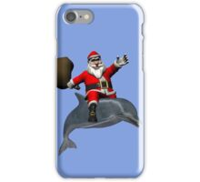 Santa Claus Riding A Dolphin iPhone Case/Skin