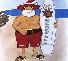 Santa with surfboard by Helle-Nielsen