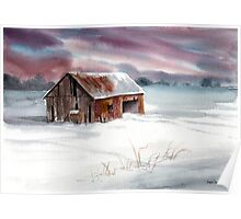 Rusty Roof Winter Barn Poster