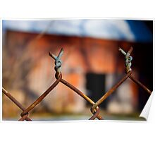 Rusty Wire Fence Poster