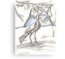 Watercolor Crane Canvas Print