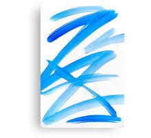 Blue Zig Zag Abstract Painting Canvas Print