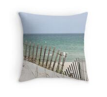 Ocean view through the beach fence Throw Pillow