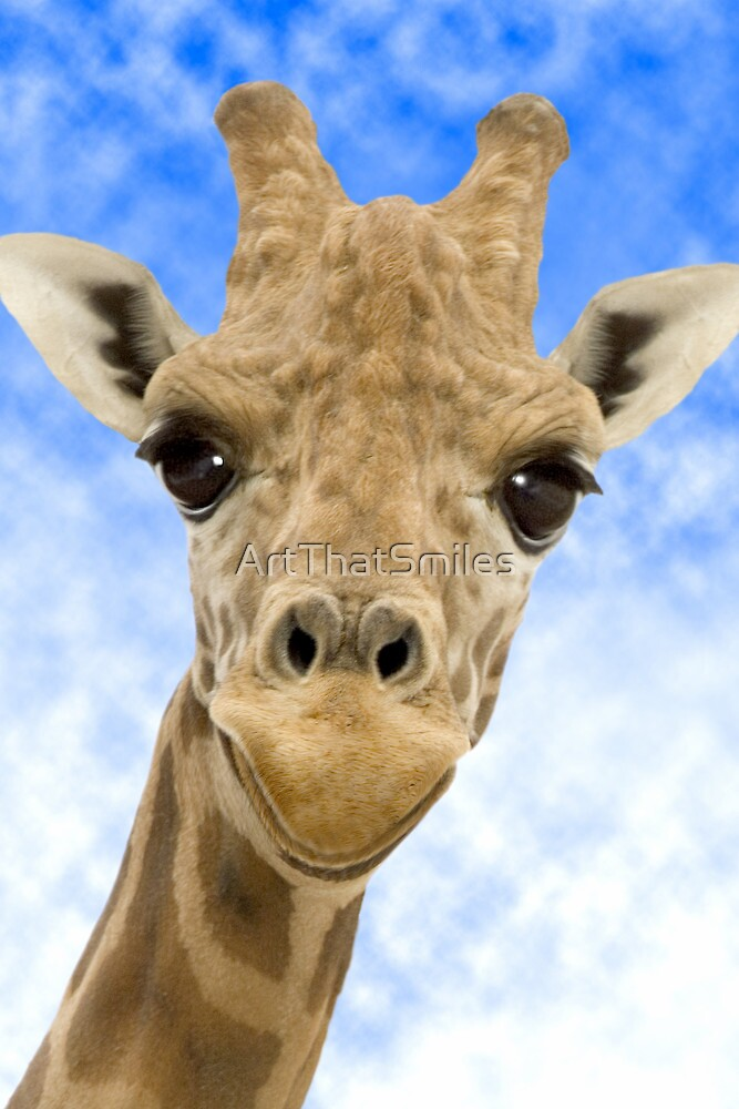 """Funny Face"" - Giraffe giving a very animated smiling face by ArtThatSmiles"