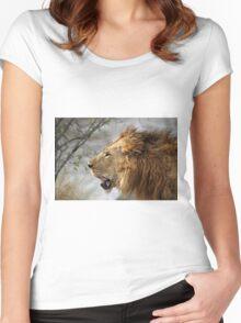 Profile Portrait, Large Male Lion, Maasai Mara, Kenya Women's Fitted Scoop T-Shirt