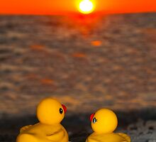 """Romancing The Sun"" - two rubber ducks at sunset by ArtThatSmiles"