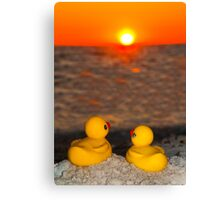 """Romancing The Sun"" - two rubber ducks at sunset Canvas Print"