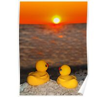 """""""Romancing The Sun"""" - two rubber ducks at sunset Poster"""