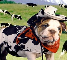 """Cow Dog"" - An English Bulldog wants to be a Cow Dog. by ArtThatSmiles"