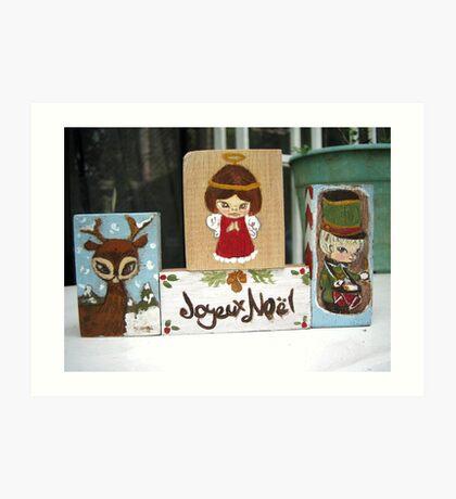Christmas blocks Art Print