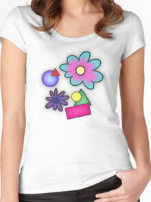 RETRO-Vibrant 80s Abstract Shapes & Flowers Women's Fitted Scoop T-Shirt