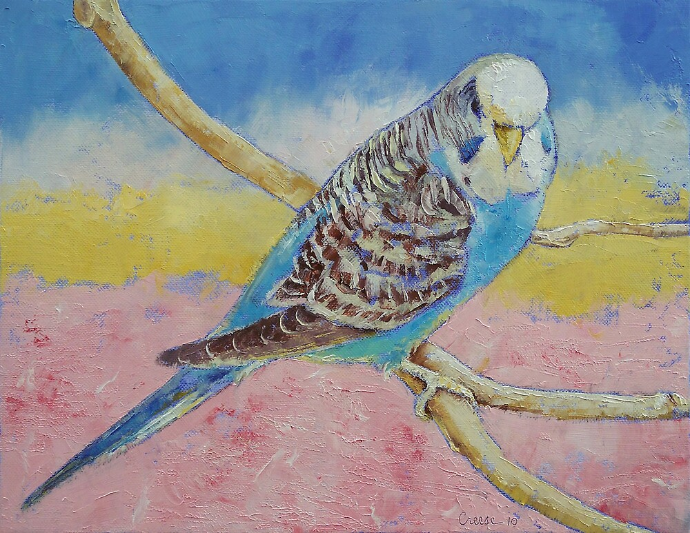 Sky Blue Budgie by Michael Creese