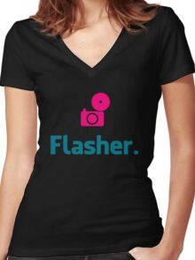 Flasher Photographer Women's Fitted V-Neck T-Shirt