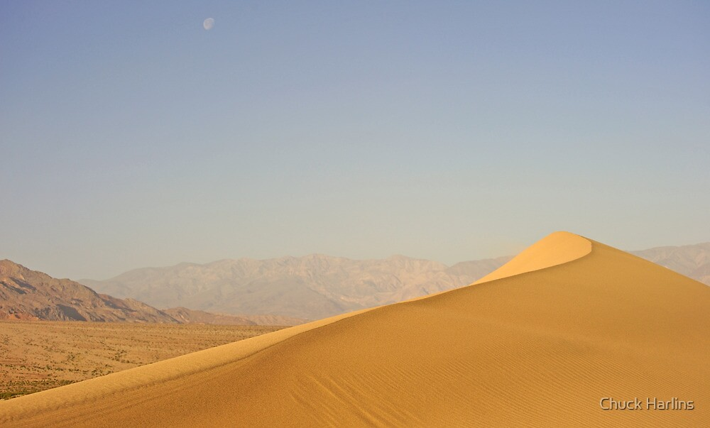 Death Valley - Dune and Moon by Chuck Harlins