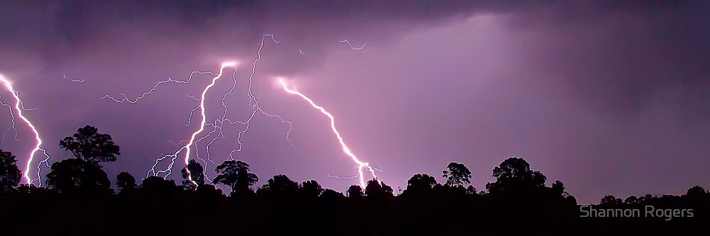 Storm Of Lightning - Panorama by Shannon Rogers