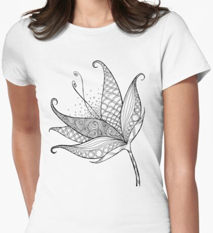 Patterned Flower Ink Drawing 01 Womens Fitted T-Shirt