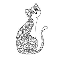 Patterned Cat Ink Drawing Photographic Print