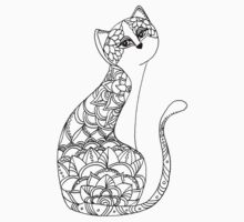 Patterned Cat Ink Drawing T-Shirt